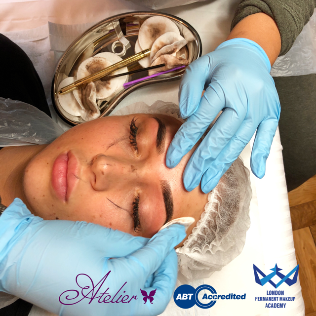 Students performing Microblading on Live Models